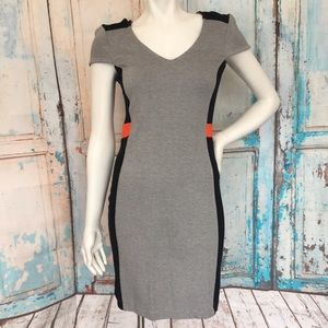 FRENCH CONNECTION Black & Gray Career Wear Dress